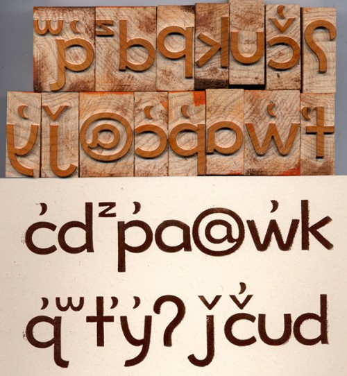 Prototype for a wood Lushootseed typeface