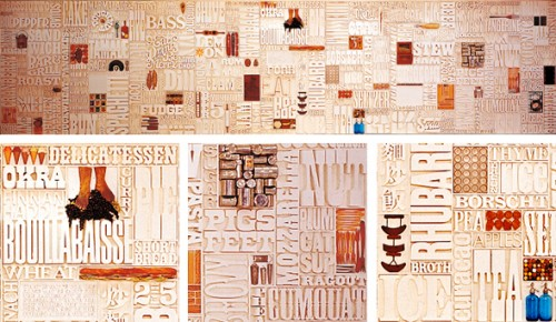 Lou Dorfsman's Gastrotypographicalassemblage wall at CBS