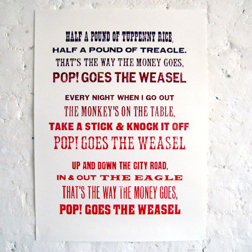 New North Press - POP! Goes The Weasel poster print