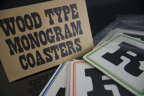 Wood type letterpress monogram coasters